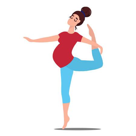 Pregnant Woman in Prenatal Yoga Pose Cartoon Illustration Ilustração