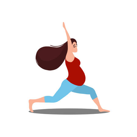 Yoga for pregnant woman vector flat illustration isolated on white background
