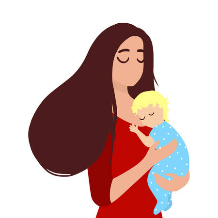 Mother holds little sleeping baby on hands