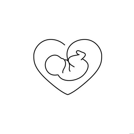 Vector fetus symbol with heart-shaped frame