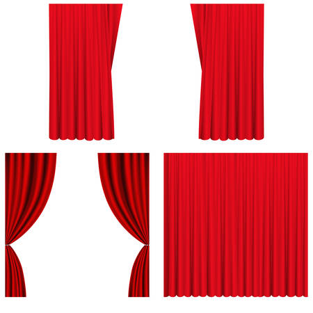 Set of red curtains to theater stage