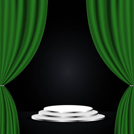 Podium with green curtain on black background. Empty pedestal for award ceremony 向量圖像