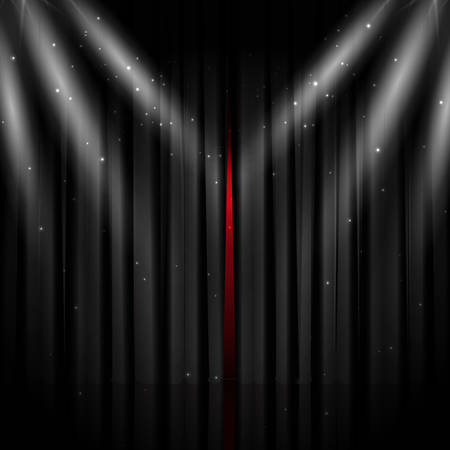 Black theater curtain with glitter and lights. Vector background