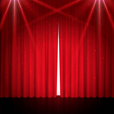 Empty theatrical scene stage with red curtains, glitter and lights