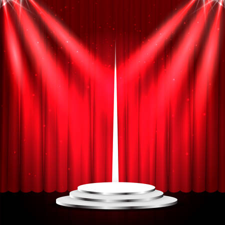 Podium with red curtain. Empty pedestal for award ceremony. Platform illuminated by spotlights