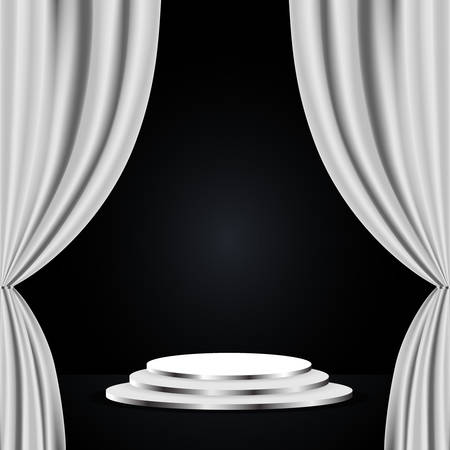 Podium with white curtain on black background. Empty pedestal for award ceremony
