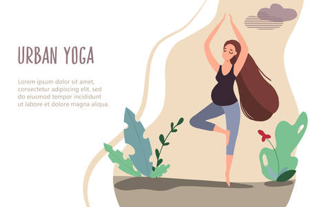 Pregnant woman doing yoga in nature. Vector banner in trendy flat style Illustration