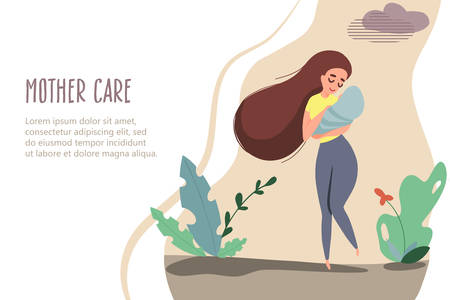 Mother with a child in her arms in nature. Vector banner in flat linear style