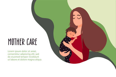 Mother holds little sleeping baby on hands. Vector banner in trendy flat linear style