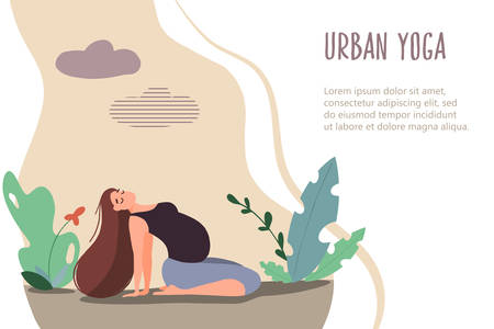 Yoga for pregnant woman in nature. Vector web page template. Mother care banner in flat linear style