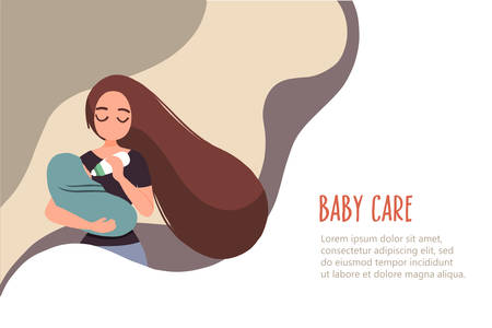 Young mother feeding her baby. Baby care banner in flat linear style