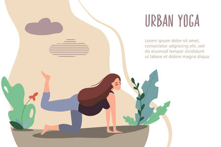 Pregnant woman doing yoga in nature. Vector card in flat linear style. Mother care banner