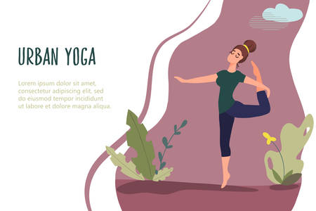 Woman exercising in nature. Vector banner in flat linear style