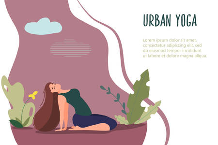 Woman exercising in nature. Vector web page template in flat linear style Archivio Fotografico - 131674475