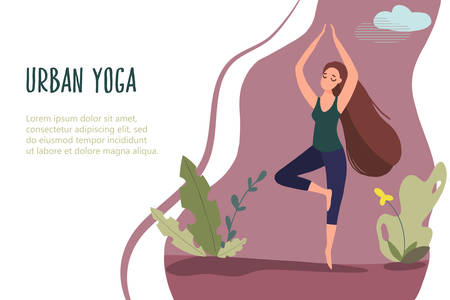 Woman exercising in nature. Vector web page template in flat linear style
