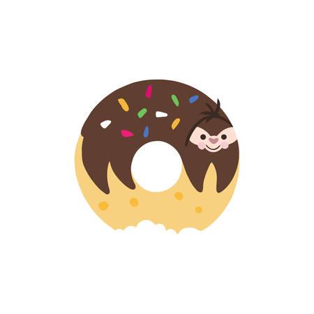 Adorable cartoon sloth on donut.