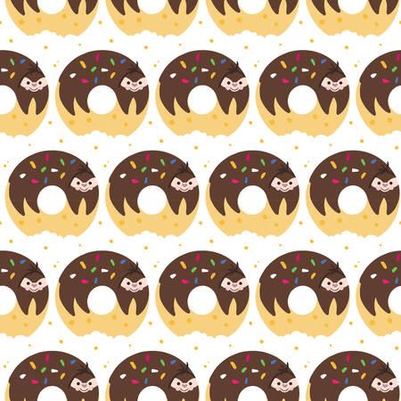 Adorable cartoon sloth on donut. Seamless pattern
