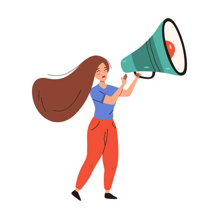 Woman shouting in loudspeaker. Vector flat illustration isolated on white background.
