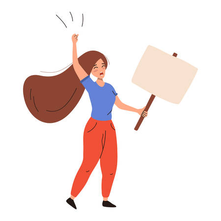 Activist woman shouting and holding placard. Vector flat illustration isolated on white background.