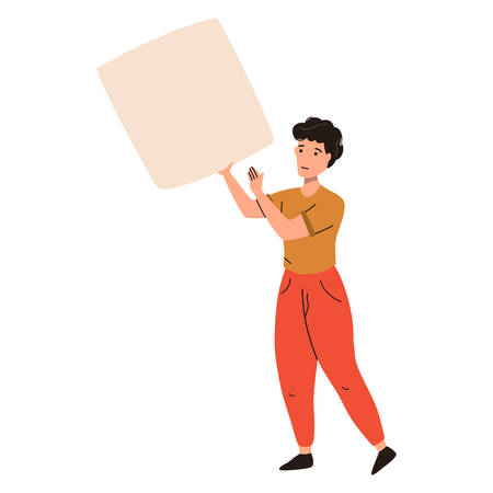 Activist man standing and holding placard. Vector flat illustration isolated on white background.