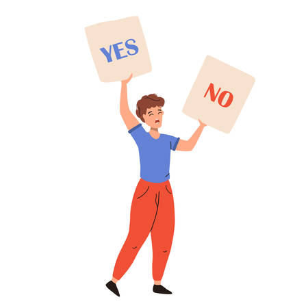Activist man standing and holding YES and NO placards. Choice hesitate, dilemma, opponent view. Vector flat illustration isolated on white background. Illustration