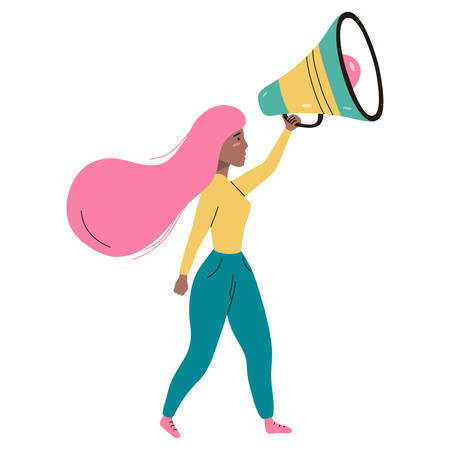 Woman walking and holding a loudspeaker. Vector flat illustration isolated on white background. Illustration