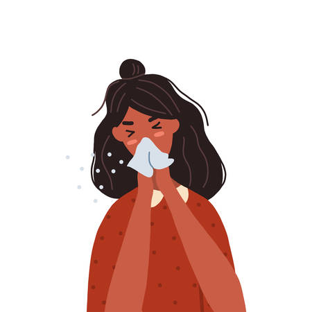 Woman coughing or sneezing into a tissue. Concept of coronavirus prevention. Vector flat illustration isolated on white background. Illustration