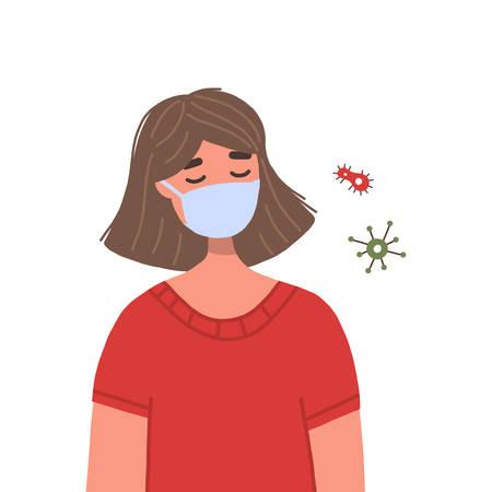 Woman wearing medical face mask for prevention of virus spreading. Concept of coronavirus quarantine. Vector flat illustration isolated on white background. Illustration