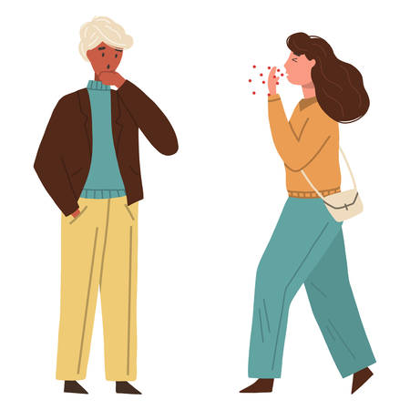 Woman coughing or sneezing in public, man covering his face with his hand. Concept of coronavirus infection. Vector flat illustration isolated on white background.