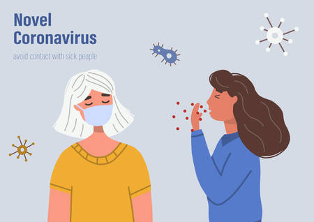 Woman coughs while another woman covering her face with medical face mask. Concept of coronavirus prevention. Vector flat illustration isolated on white background.