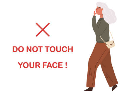 Vector flat illustration of a woman touching her face. Concept of coronavirus prevention tips. Isolated on white background.