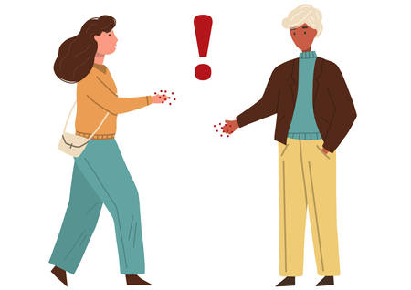 Man and woman handshaking with infectious hands. Concept of coronavirus infection. Vector flat illustration isolated on white background. Illustration