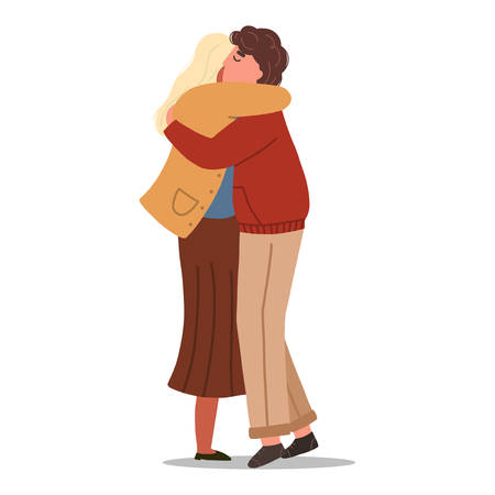 Man and woman hugging each other. Loving couple concept. Vector flat illustration isolated on white background.