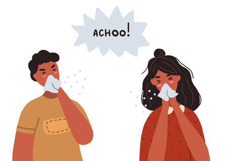 Man and woman sneezing into their tissues. Concept of coronavirus prevention. Vector flat illustration isolated on white background.