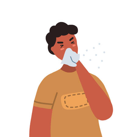 Man coughing or sneezing into a tissue. Concept of coronavirus prevention. Vector flat illustration isolated on white background.