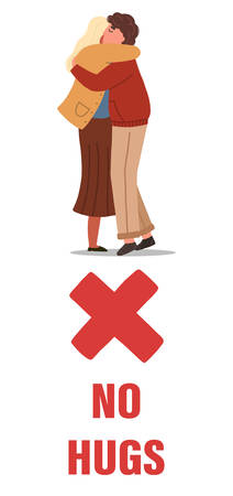 Man and woman hugging each other. Concept of coronavirus prevention tips. Vector banner, isolated on white background.