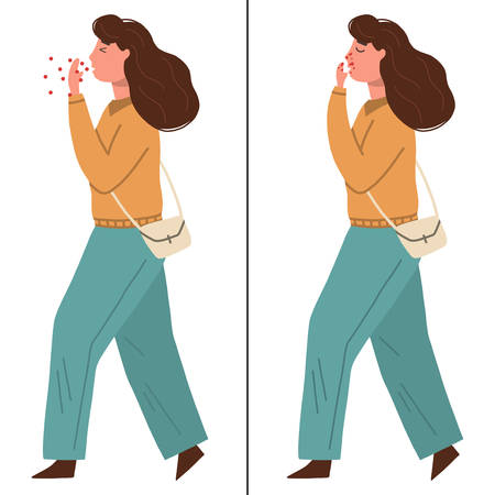 Vector flat illustration of a woman coughing and touching her face. Concept of coronavirus infection. Isolated on white background.