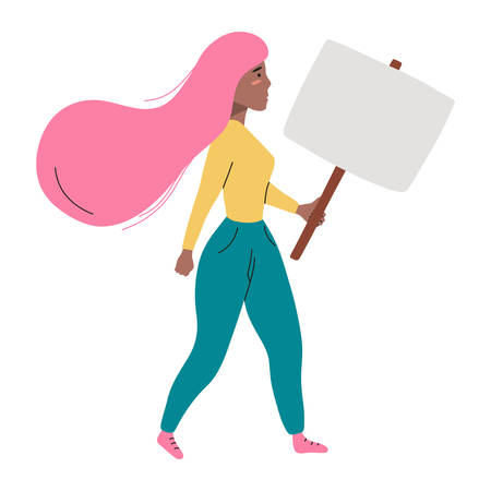 Activist woman walking and holding blanc placard. Vector flat illustration isolated on white background.