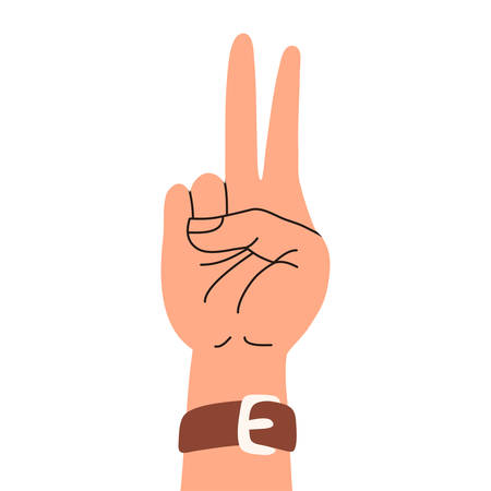 A hand up showing victory sign. Cartoon vector flat illustration isolated on white background.