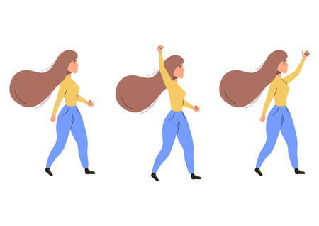 Set of walking activist woman with raised fist.  Social activist concept. Vector flat illustration isolated on white background. Illustration