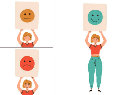 Levels of user satisfaction: good, neutral, bad. Woman shows her emotions in public. Customer experience concept. Vector flat illustration isolated on white background.