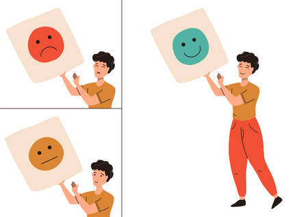 Levels of user satisfaction: good, neutral, bad. Man shows his emotions in public. Customer experience concept. Vector flat illustration isolated on white background.