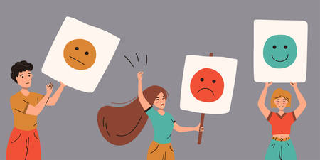 Levels of user satisfaction: good, neutral, bad. People show their emotions in public. Customer experience concept. Vector flat illustration isolated on white background.
