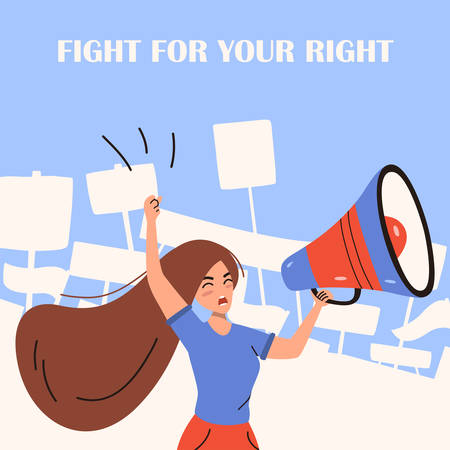 Activist woman shouting in loudspeaker at demonstration. Political concept. Vector illustration with character Illustration