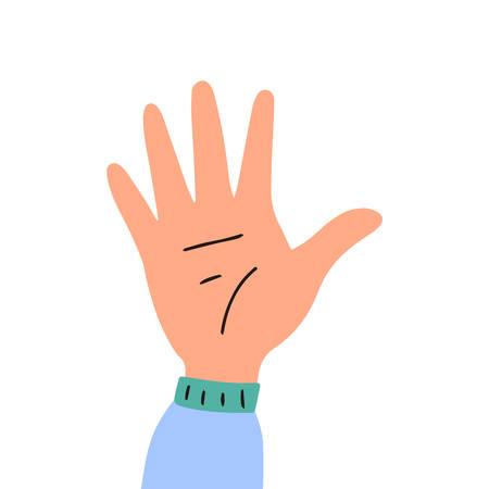 Raised up hand. Vector flat illustration isolated on white background. Vettoriali