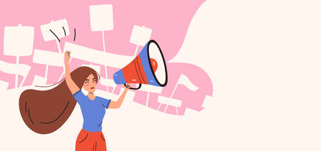 Activist woman shouting in loudspeaker at demonstration. Announcement concept. Vector illustration isolated on white background. Illustration