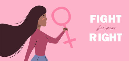 Woman holding a feminine sign, banner. Social activist and feminist concept. Vector flat illustration with character Illustration