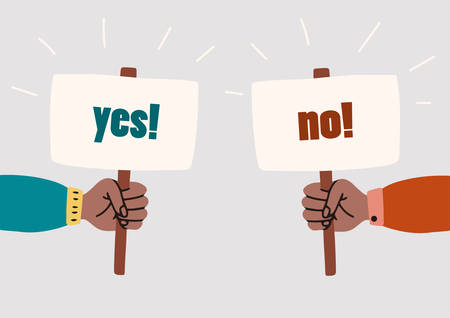 Human hands holding YES and NO banners. Choice hesitate, dilemma, opponent view. Vector cartoon flat illustration isolated on white background.