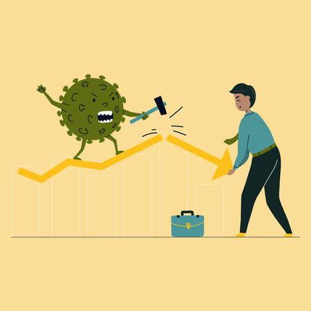 Virus hits market. Businessman tries to prevent bar graph falling in economic collapse from coronavirus. Financial crisis help concept. Vector flat illustration