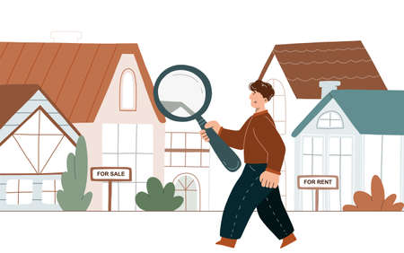 Man searching a house with big magnifying glass. Property selection concept. Vector flat illustration isolated on white background